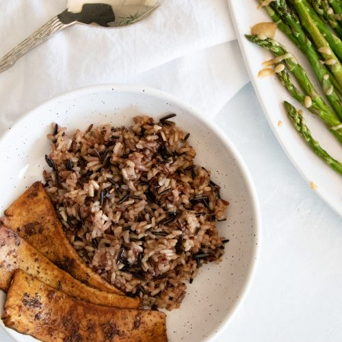 Wild Rice Pilaf Recipe is Paired with Asparagus and Marinated Tofu.